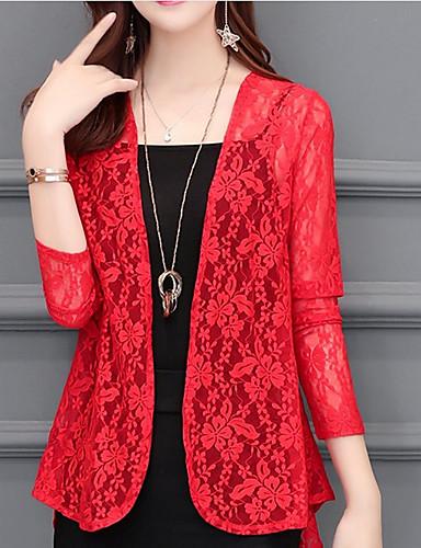 billige Ytterklær til damer-Dame Daglig Normal Trenchcoat, Ensfarget Rund hals 3/4 ermer Polyester Rød / Rosa / Vin