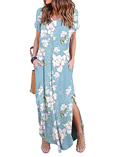 voordelige Maxi-jurken-Dames Wijd uitlopend Jurk Split Bloemen V-hals Maxi