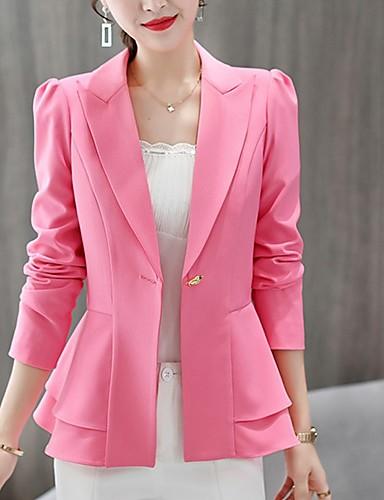 billige Ytterklær til damer-Dame Blazer Rundet jakkeslag Polyester Rosa / Vin / Marineblå L / XL / XXL