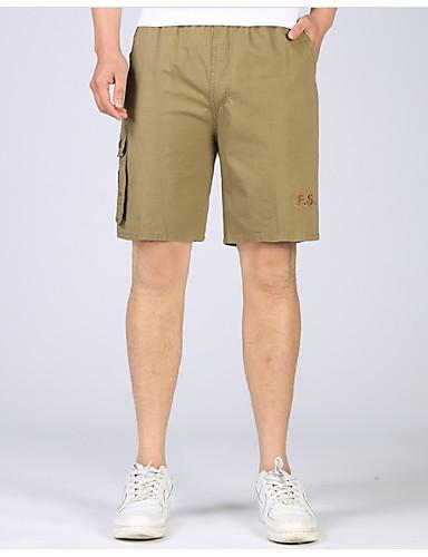 お買い得  メンズパンツ&ショーツ-男性用 ベーシック ショーツ パンツ - ソリッド イエロー