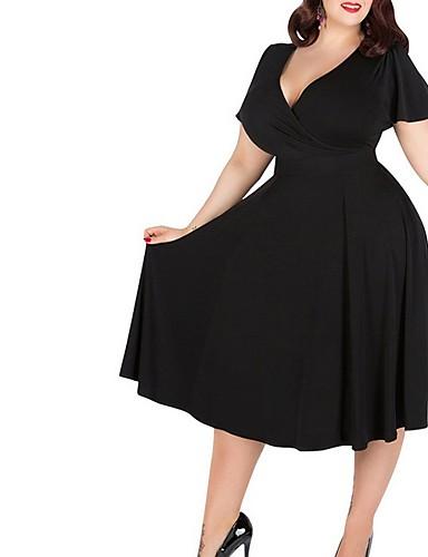 cheap Women's Plus Size Dresses-Women's A Line Dress Green Black Wine XXXL XXXXL XXXXXL
