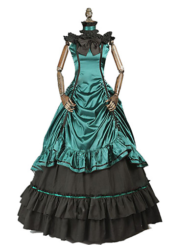 a9332dc676123 Princess Rococo Victorian Costume Women's Dress Party Costume Costume Dark  Green Vintage Cosplay Cotton Masquerade Party & Evening Short Sleeve Off  Shoulder ...