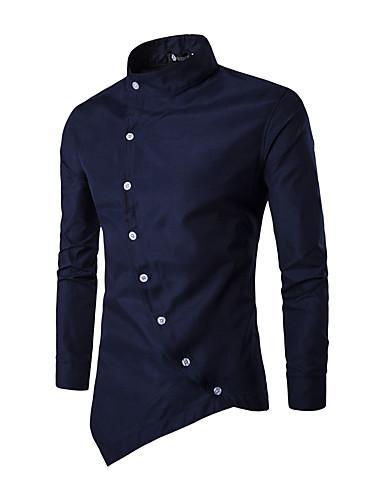 voordelige Herenoverhemden-Heren Patchwork Overhemd Effen Opstaande boord Zwart