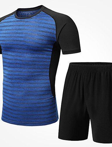 ebb8ef2e9e6 ... Elastane Clothing Suit Running Fitness Gym Workout Short Sleeve  Activewear Breathable Quick Dry Reflective Strips Sweat-wicking Micro- elastic Regular
