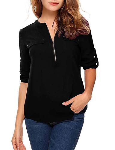 09b02e60a76c Χαμηλού Κόστους Γυναικείες Μπλούζες-Γυναικεία Μεγάλα Μεγέθη Μπλούζα  Μονόχρωμο Λαιμόκοψη V Κρασί XXXL
