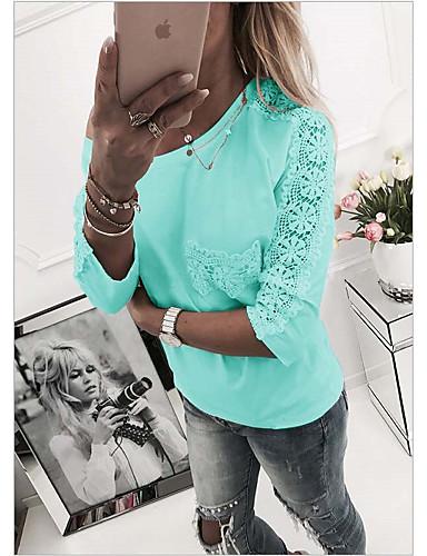 abordables Hauts pour Femme-Tee-shirt Grandes Tailles Femme, Couleur Pleine Slim Rose Claire