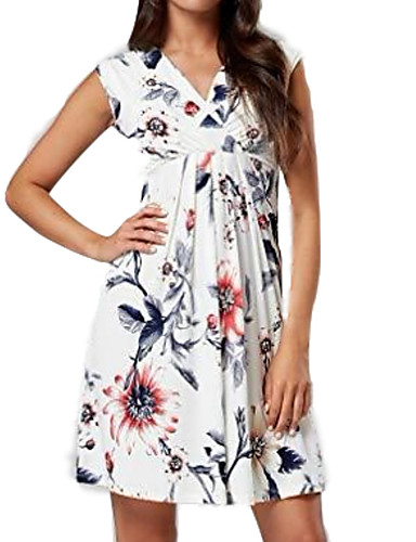 cheap Maternity Dresses-Women's Maternity Basic Elegant Above Knee Skater Dress - Floral Print Blue White Gray L XL XXL