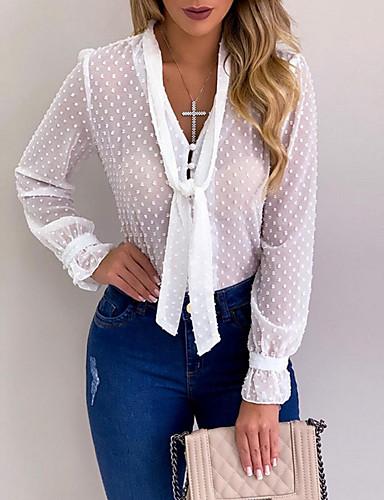 povoljno Ženske majice-Bluza Žene Jednobojni V izrez Crn
