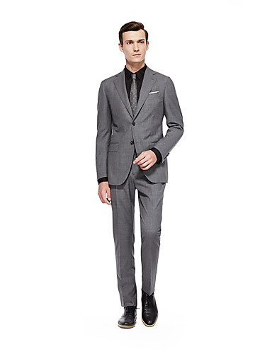 cheap Suits-Custom Suits Silver Solid Colored Standard Fit Wool Suit - Notch Single Breasted Two-buttons