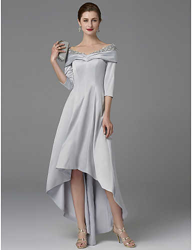 cheap Mother of the Bride Dresses-A-Line Off Shoulder Asymmetrical Satin Mother of the Bride Dress with Crystals / Lace by LAN TING BRIDE® / Sparkle & Shine