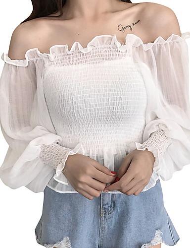 Aspirante Blusa Per Donna Tinta Unita Senza Spalline Bianco Taglia Unica - Taglia Piccola #07233190
