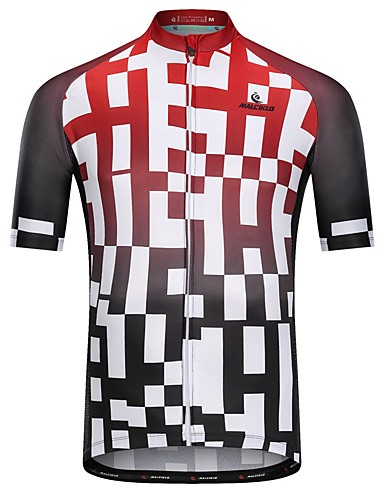 cheap Cycling Clothing-Malciklo Men's Short Sleeve Cycling Jersey Black / Red Plaid / Checkered Bike Jersey Top Breathable Quick Dry Sweat-wicking Sports Terylene Mountain Bike MTB Road Bike Cycling Clothing Apparel