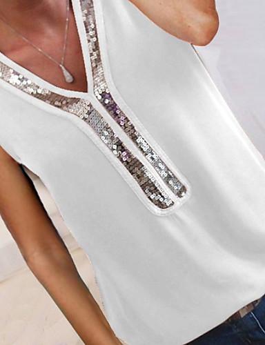 abordables Hauts pour Femme-Tee-shirt Femme, Couleur Pleine Paillettes / Mousseline de Soie / Mosaïque Col en V Gris / Printemps / Eté / Automne