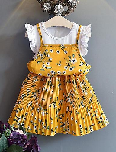 Enfants Fille Le style mignon Chic de Rue Fleur Mosaïque Mosaïque Imprimé Manches Courtes Rayonne Polyester Robe Jaune