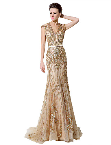 cheap Designers' Originals-Mermaid / Trumpet Plunging Neck Court Train Tulle Dress with Crystals by JUDY&JULIA