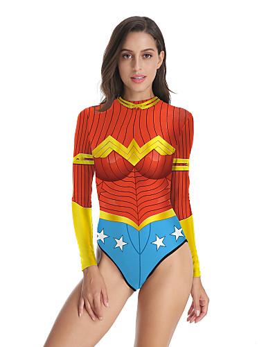 Uimapuku Jumpsuit-trikoot Uimapuvut Cosplay-puvut Beach Girl Aikuisten Cosplay-asut Cosplay Halloween Naisten Rubiini Tulostus Joulu Halloween Karnevaali