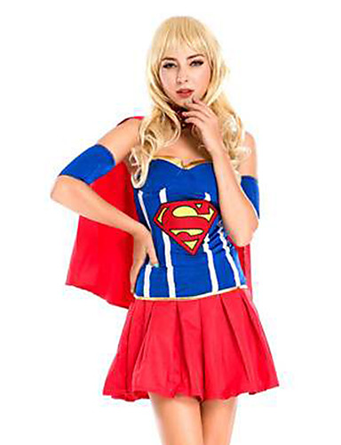 f490e3306bc0 Super Heroes Dress Cosplay Costume Cloak Adults' Women's Cosplay Halloween  Halloween Carnival Masquerade Festival / Holiday Polyster Blue / Ink Blue  ...