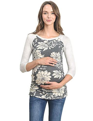T-shirt Per Donna Con Stampe, Fantasia Floreale Grigio Scuro L #07248234 L'Ultima Moda