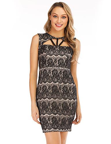 098f7808a7a2 Women's Sophisticated Elegant Bodycon Sheath Dress Lace Black L XL XXL