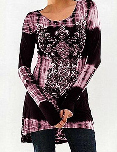 povoljno Ženske majice-Veći konfekcijski brojevi Majica s rukavima Žene Geometrijski oblici Slim Crn