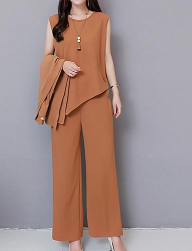 abordables Hauts pour Femmes-Femme Grandes Tailles Basique Set - Couleur Pleine Pantalon