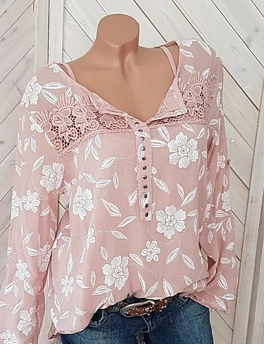 billige Topper til damer-Løstsittende Skjorte Dame - Grafisk, Blonde / Nagle / Lapper Rosa XXXL