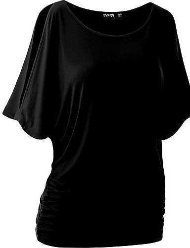 billige Dametopper-Bomull Tynn Store størrelser T-skjorte Dame - Ensfarget Gul
