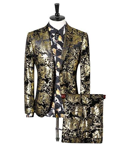 voordelige Herenblazers & kostuums-Heren Grote maten Pakken, Paisley Ingesneden revers Polyester Goud