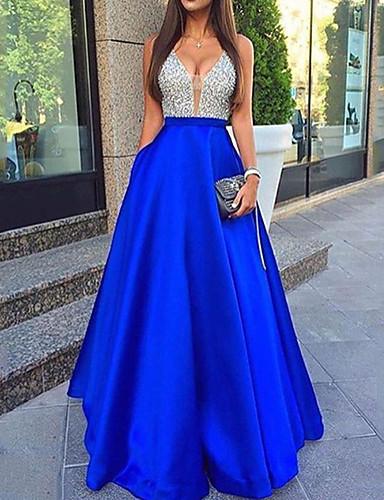 levne Plesové šaty-A-Linie Do V Na zem Satén / Flitry Zářivé Šaty s Flitry podle LAN TING Express