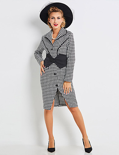 bfa1198e251 Audrey Hepburn Country Girl Retro   Vintage 1950s Wasp-Waisted Rockabilly  Costume Women s Coat Black   White Vintage Cosplay Party Daily Long Sleeve  Bishop ...