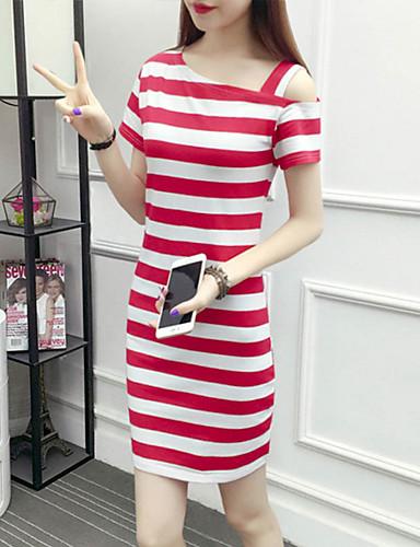 billige Kjoler-Dame Grunnleggende Skjede Kjole - Stripet Mini