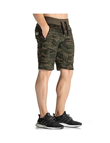 cheap Men's Pants & Shorts-Men's Basic / Military Cotton Shorts Pants - Print Black