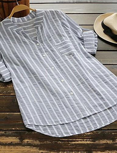abordables Camisas y Camisetas para Mujer-Mujer Chic de Calle / Punk & Gótico Retazos Camisa A Rayas Azul claro XXXL