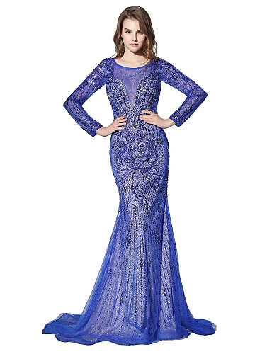 cheap Designers' Originals-Mermaid / Trumpet Illusion Neck Court Train Lace / Tulle Dress with Beading / Crystals by JUDY&JULIA