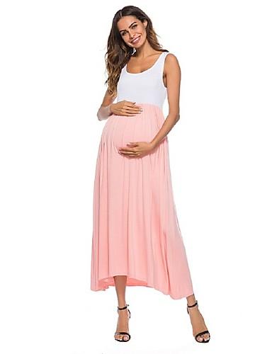 cheap Maternity Dresses-Women's Maternity Basic Maxi Swing Dress - Solid Colored Floral Cotton Light Green Rainbow Light Blue M L XL