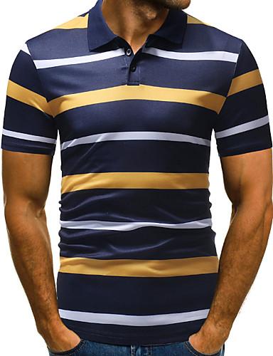 voordelige Herenpolo's-Heren EU / VS maat - Polo Gestreept Overhemdkraag Klaver