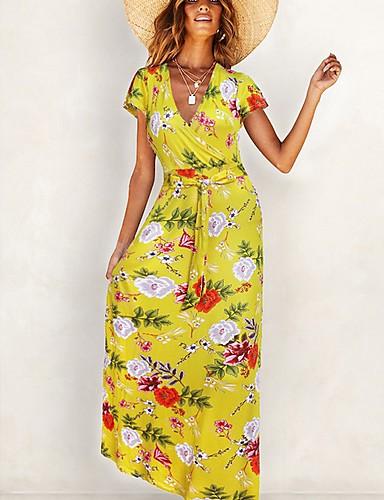 voordelige Maxi-jurken-Dames Wijd uitlopend Jurk Ruche Bloemen V-hals Maxi