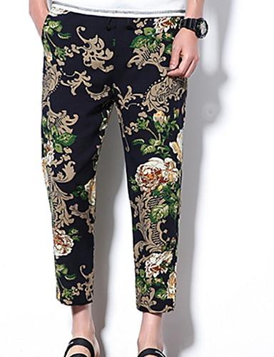 a117db17dcb Недорогие Мужские брюки и шорты-Муж. Классический Чино Брюки - Рисунок Синий
