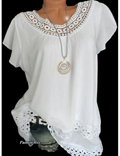 abordables Tops y conjuntos de mujeres-Mujer Camiseta Un Color Blanco XXXL