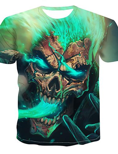 voordelige Uitverkoop-Heren Print Grote maten - T-shirt Doodskoppen Ronde hals Klaver