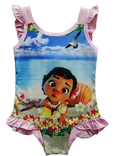 3fa138945e Swimsuit Swimwear Cosplay Costumes Moana Beach Girl Kid's Cosplay Costumes  Cosplay Halloween Fuchsia / Pink Cartoon Printing Polyster Girls' Christmas  ...
