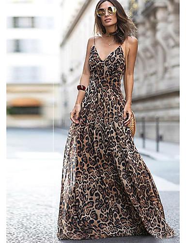 preiswerte Maxikleider-A-Linie V-Wire Ausschnitt Boden-Länge Chiffon Kleid mit Muster / Druck durch LAN TING Express