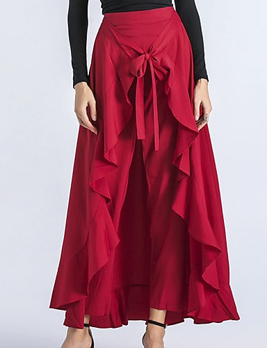 b95ed2c9e8 Women's Asymmetrical Swing Skirts - Solid Colored Black Red Gray