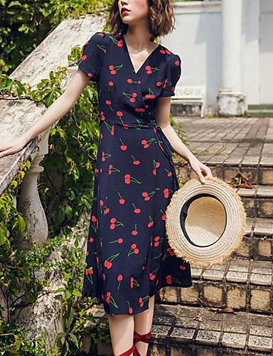 Acquista A Buon Mercato Per Donna Elegante Linea A Vestito Fantasia Geometrica Al Ginocchio #07239849