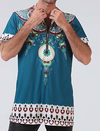 Χαμηλού Κόστους Αντρικές Μπλούζες-Ανδρικά T-shirt Tribal Στάμπα Θαλασσί XL