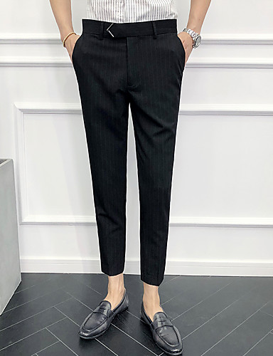 cheap Men's Clothing-Men's Basic Chinos Pants - Striped Classic Black Gray 33 34 36