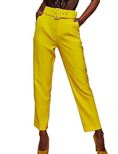 ราคาถูก กางเกงผู้หญิง-สำหรับผู้หญิง พื้นฐาน เพรียวบาง กางเกง Chinos กางเกง - สีพื้น เอวสูง สีเหลือง สีบานเย็น สีกากี L XL XXL
