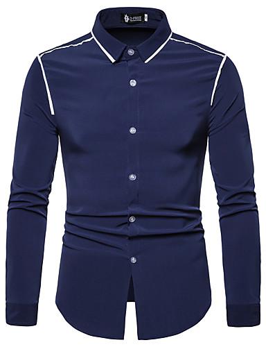 levne Pánské košile-Pánské - Barevné bloky Košile Černá L