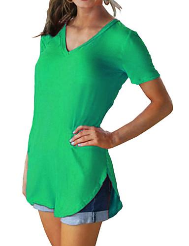 billige Dametopper-Bomull V-hals Store størrelser T-skjorte Dame - Ensfarget Fuksia