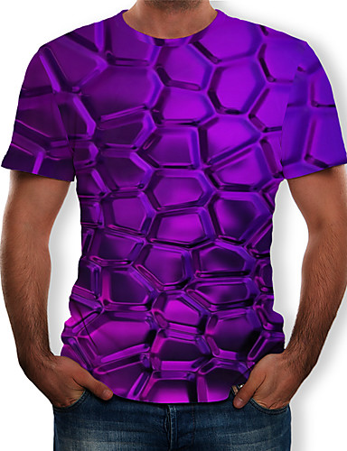 economico 6/25-T-shirt Per uomo Con stampe, 3D Rotonda Viola US36